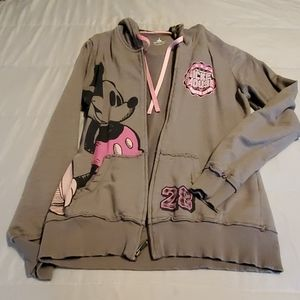 Disney gray and pink hoodie with Mickey on it